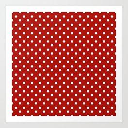 White & Red Navy Polkadot Pattern Art Print