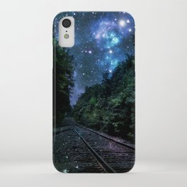 Train Tracks : Next Stop Anywhere Blue Side View iPhone Case