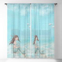 Shy mermaid Sheer Curtain