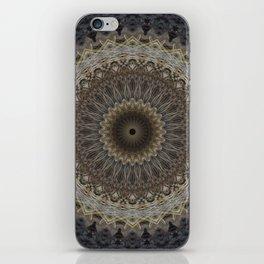Mandala in warm brown and gray tones iPhone Skin