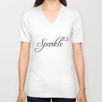 sparkle V-neck T-shirts featuring Sparkle by Rebekah Carney