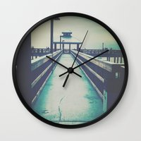 boardwalk empire Wall Clocks featuring Boardwalk by SilverTwig