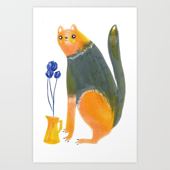 Kittens Like Flowers Too Art Print