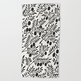 Black Olive Branches Beach Towel