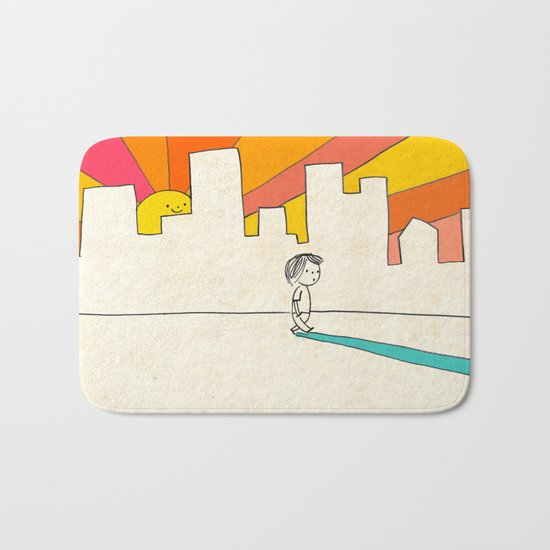 if i had eyes at the back of my head, i wouldn't have to miss the sunset on my way home Bath Mat