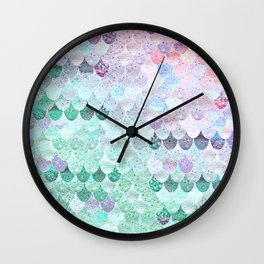 SUMMER MERMAID - CORAL MINT Wall Clock