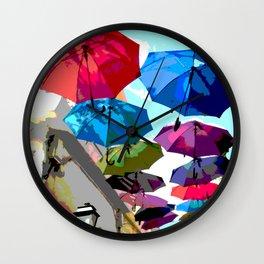 In Ermoupoli, Syros, umbrellas shade the streets Wall Clock