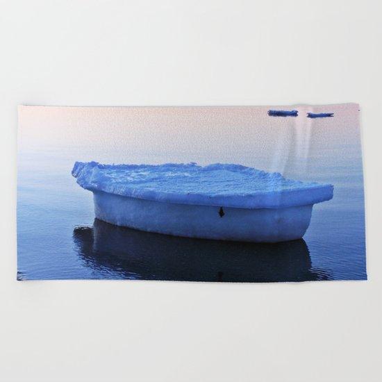 Ice Raft at Dusk on Calm Seas Beach Towel