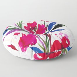 POCKETFUL OF POSIES 1, Colorful Summer Watercolor Floral Painting Abstract Red Blue Pink Flowers Art Floor Pillow