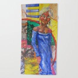 Girl in blue dress Beach Towel