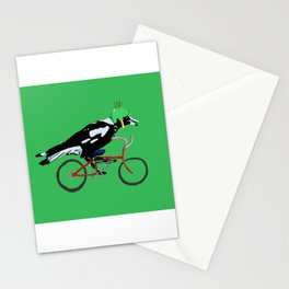 Magpie on Bike Swoop (in Green) Stationery Cards