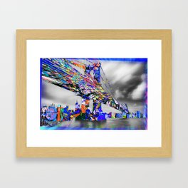 New York City Manhattan Bridge Pure Pop Blue Framed Art Print