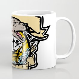 Angry Wolf Pirate Ship Banner Retro Coffee Mug