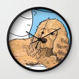 Cute Tan Cocker Spaniel Illustration Wall Clock
