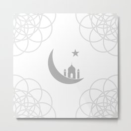 Mosque and crescent moon- symbol of the religion of Islam Metal Print