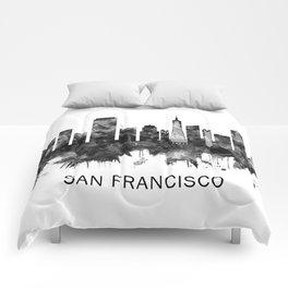 San Francisco California Skyline BW Comforters