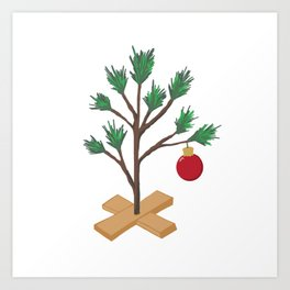 Alone at Christmas - Christmas Tree Art Print