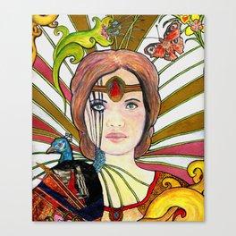 La jeune fille au paon (the peacock maiden) Canvas Print