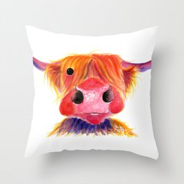 Scottish Highland Cow ' HeRbiE ' by Shirley MacArthur Throw Pillow