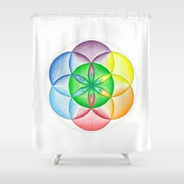 The Seed of Life - The Rainbow Tribe Collection Shower Curtain