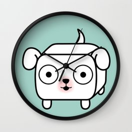 Pitbull Loaf - White Pit Bull with Floppy Ears Wall Clock