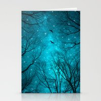 teal Stationery Cards featuring Stars Can't Shine Without Darkness  by soaring anchor designs