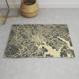 Baltimore map yellow Rug