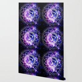 om mandala: purple blue space Wallpaper