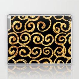 Gold Swirls on Black Background Laptop & iPad Skin