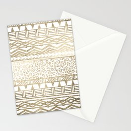 Modern faux gold foil aztec leopard pattern Stationery Cards