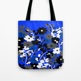 SUNFLOWER TRELLIS BLUE BLACK GRAY AND WHITE TOILE Tote Bag