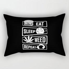 Eat Sleep Weed Repeat - Cannabis Mary Jane THC CBD Rectangular Pillow