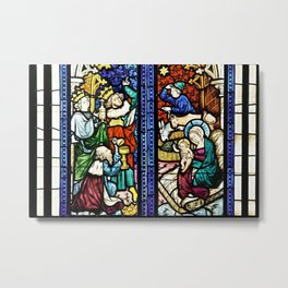 Medieval Stained Glass Painting Nativity Scene Nativity and Adoration of Jesus Christmas Metal Print