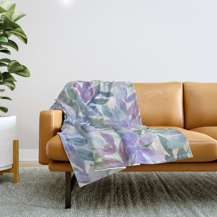 watercolor Botanical garden Throw Blanket