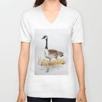 canada V-neck T-shirts featuring Bernache du Canada (Canada Goose) by Condor