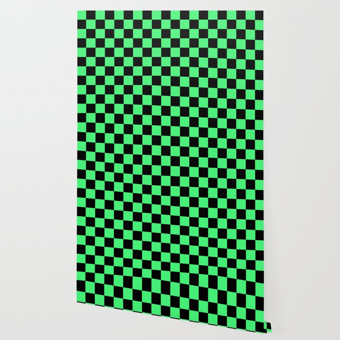 Black and Green Checkerboard Pattern Wallpaper