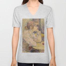"""Henri de Toulouse-Lautrec """"The Hangover (Suzanne Valadon)"""" Unisex V-Neck"""