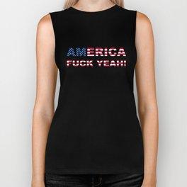 AMERICA FUCK YEAH writing with USA flag Biker Tank