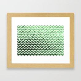 Glitter Sparkly Bling Chevron Pattern (green) Framed Art Print