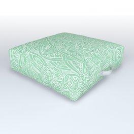 Most Detailed Mandala! Mint Green Color Intricate Detail Ethnic Mandalas Zentangle Maze Pattern Outdoor Floor Cushion