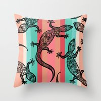 southwest Throw Pillows featuring Southwest Gecko by Lisa Argyropoulos