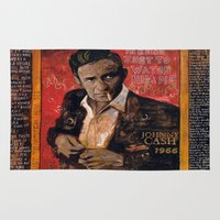 johnny cash Area & Throw Rugs featuring Red Johnny Cash by Ray Stephenson