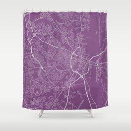 Fayetteville Map, USA - Purple Shower Curtain