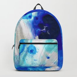 Modern Abstract Art - Blue Marble by Sharon Cummings Backpack