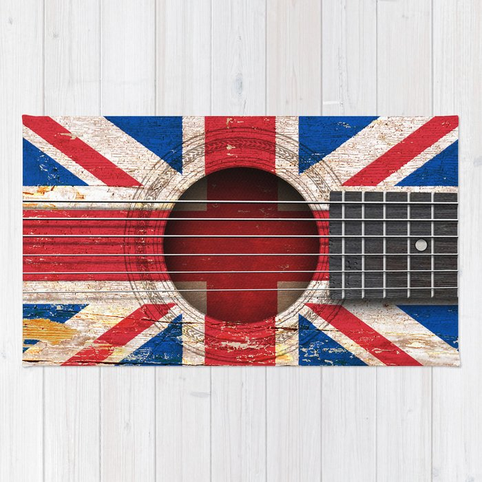 Old Vintage Acoustic Guitar With Union Jack British Flag Rug