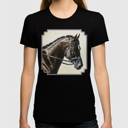 Dark Bay Dressage Horse Portrait T-shirt