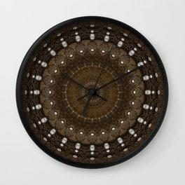 Mandala in different brown tones Wall Clock