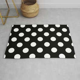 Black - White Polka Dots - Pois Pattern Rug