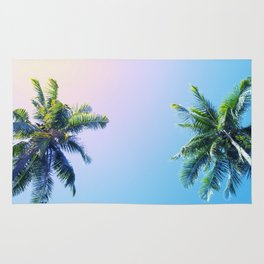 Coco Palm Trees on Pink Blue Sky Rug