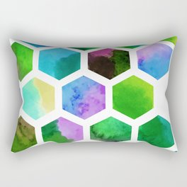 Green Hexagons Rectangular Pillow